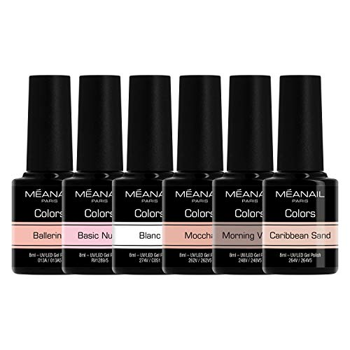 Nude Gel-Lack Shellac UV Nagellack - Nagellack Sets - UV Gel Set - Gellack Set - Nail Polish Set 6 Farben - 14 Tage Halt - vegan& cruelty free Kollektion NUDE