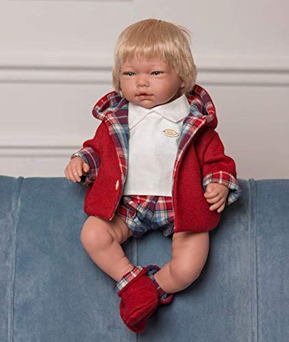 Puppen Guca - Pop Adgel poloshirt wit met rode jas en bijpassende broek met schoenen 46 cm Reborn, meerkleurig (888)