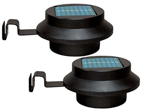 elitezotec Nouveau Lot de 2 Blanc à énergie solaire de jardin à LED d'économie d'énergie de gouttière extérieur Clôture lumière Mur Yard Lobby Pathway lampe jardin