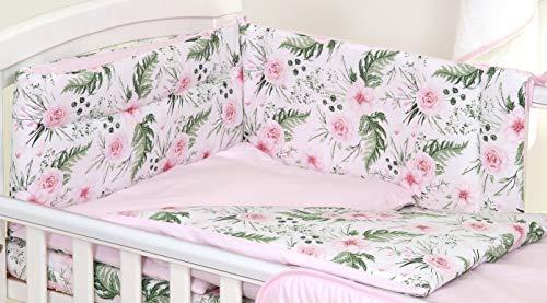 5 pcs Parure de Lit 5 Pièces pour Lit Bébé 70 x 140 cm Tour de lit Couette Oreiller Rose Garden Pink Fleurs Roses Enfant