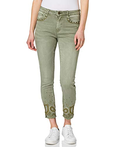 Desigual Womens Ankle Paisley Casual Pants, Green, 44