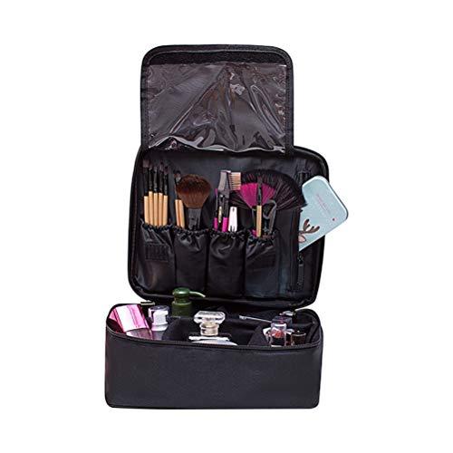 Oyria Trousse de Maquillage de Voyage étanche, Caisse de Train de Maquillage Portable avec séparateurs Ajustables, Organisateur de Toilette, Outils de Coiffure, boîte de Rangement, Noir