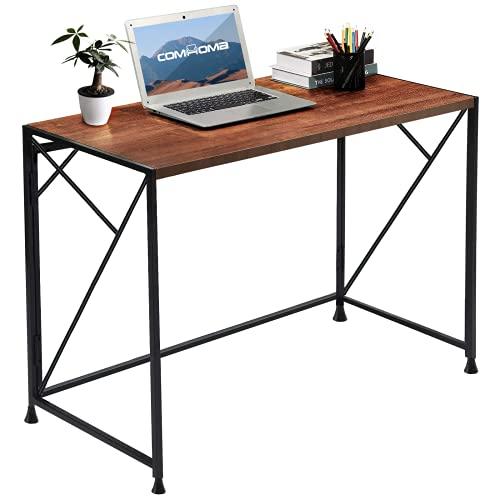 COMHOMA Scrivania Pieghevole Ufficio Salvaspazio Piccola per PC Computer, Tavolo per Laptop, Scrittorio da Studio per Ufficio a Casa Design Moderno, 100 x 50 x 75 cm (Brown)
