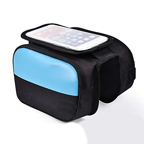 BAIYAN Bike Front Frame Bag,Bicycle Frame Bag,Blue Reflective Large-capacity Double Bag Waterproof Scratch-resistant,for Mountain Public Bike Riding