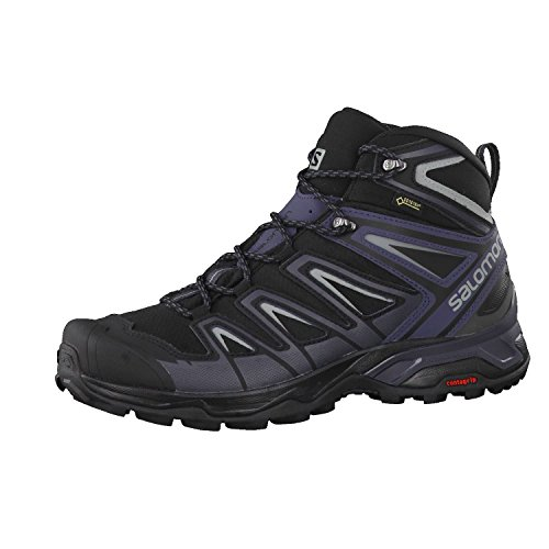 Salomon X Ultra 3 Mid GTX, Botas de Senderismo Hombre, Negro (Black/India Ink/Monument), 46 2/3 EU