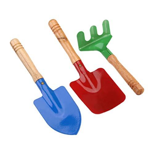 Kisangel 6 Stück / 2 Sätze Kinder Gartengeräte Metall mit Holzgriff Schaufel Rechen Und Kelle Gartengeräte für Jugendliche Strand Sandkasten Spielzeug