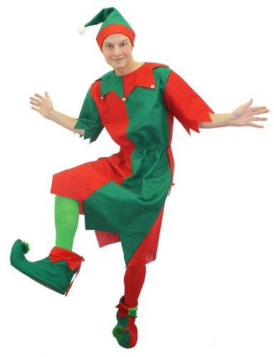 ILOVEFANCYDRESS Un déguisement d'Elfe de Noël avec Une Tunique Verte et Rouge pour Adulte + Chaussures. Ideal pour Les fêtes de Noël. ( XLarge )