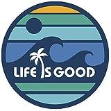 Life is Good. 4' Circle Sticker - LIG Wave - Darkest Blue