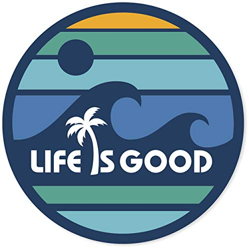 "Life is Good. 4"" Circle Sticker - LIG Wave - Darkest Blue"