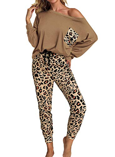 ROSKIKI Womens 2 Piece Lounge Set Leopard Print Long Sleeve Top with Long Pants Pajamas Sets Sleepwear Nightgowns