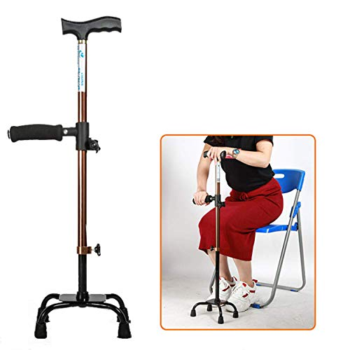 Four-Legged Crutches Adjustable Quad Cane Lightweight Walking Stick for Men, Women and Elderly Walking Cane with Double T Handle Easy Sit-Stand Cane for Stability