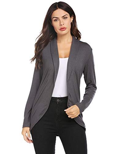 luvamia Women's Open Front Long Sleeve Work Blazer Casual Buttons Jacket Suit Grey Blazer Size Medium (Fits US 8-US 10)