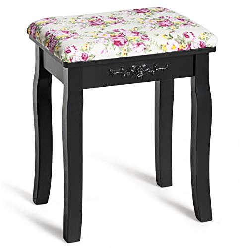 Best Price! Giantex Vanity Stool Wood Dressing Padded Chair Makeup Piano Seat Make Up Bench w/Rose C...