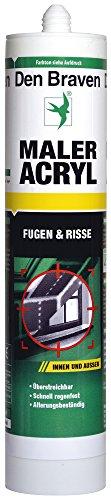 Den Braven CAC33A511003 Maleracryl GRAU (-20° bis +75°C), Dichtstoff, regenfest, streichbar, alterungsbeständig, hochwertiges Acryl Made in Germany