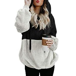 Women's Fuzzy Casual Loose Sweatshirt Hooded with Pockets Outwear S-XXL