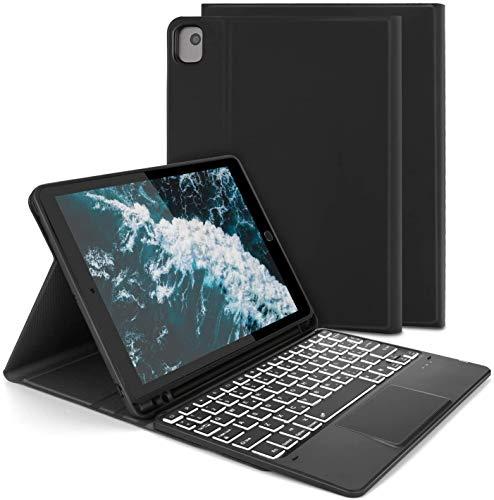 Jelly Comb Custodia con Tastiera Trackpad per Nuovo iPad 10.2 2020 2019 (iPad 7a 8a Gen)  iPad Pro10.5 iPad Air 3 10.5, Tastiera Italiana QWERTY Retroilluminata a 7 Colori con Touchpad- Nero