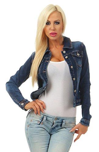 Fashion4Young 5673 Damen Jeansjacke Damenjacke Jeans Jacke Kurze Jacke Denim Jacke Stretch (blau, XL-42)