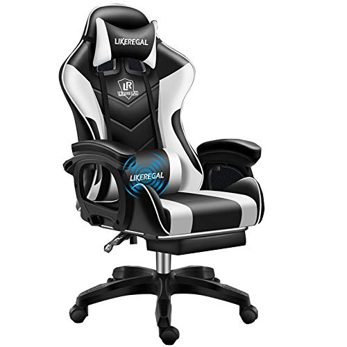 ZMIN Ergonomischer Gaming Stuhl Bürostuhl PC Stuhl Super Sportwagen Design Konzept PU Leder verstellbare Armlehne für E-Sport Büro Live-Übertragung,Weiß