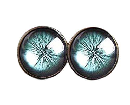 Pendientes de tuerca con diseño de ojo de gato verde, pendientes verdes con diseño de galaxia