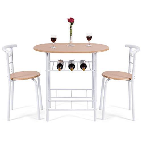 COSTWAY 3 Pezzi Set da Pranzo Set 1 Tavolo e 2 Sedie da Cucina, in Metallo e MDF, Moderno ed Elegante (Bianco+Cachi)