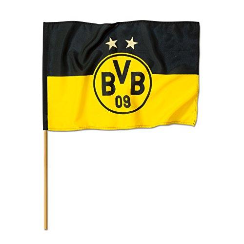 Borussia Dortmund BVB 14134000 Stockfahne 60x40cm mit Logo, Schwarz/gelb, 60 x 80 x 1 cm