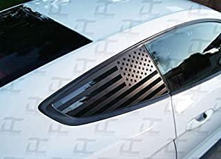 Decal Concepts Flat Black American Flag Rear Quarter Window Accent Decal (2) (Fits Mustang 2015-2019)