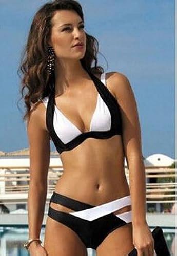 Gyps Femme Bikini Sexy de Bain Bikini à Bretelle Triangle maillot de bain Plage à la Mode Moderne Confortable Bikini Femmes à la Mode Moderne Confortable Bikini réunis Maillot de Bain Split, Blanc, XL