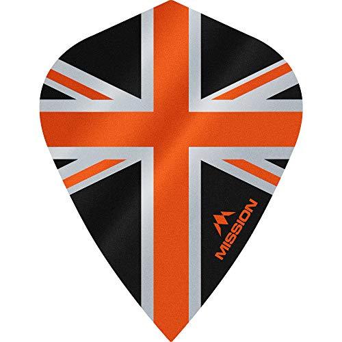 5 x Sets (15) Union Jack Dart Flights Mission Alliance Drachen UV Finish Tough (Orange)