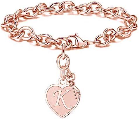 M MOOHAM Bracelets for Girls Women Rose Gold Letter K Initial Charm Bracelet Mothers Day Valentines product image