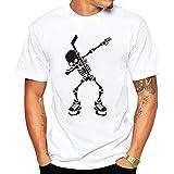 Camiseta de Manga Corta para Hombre Moda Estampado Calaveras Cuello Redondo Algodón Cómodo Transpirables Personalizadas Simplicidad y Moda T-Shirt de Verano MMUJERY (M, Blanco)