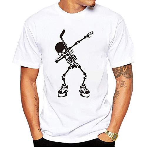 Hombres Primavera Verano Ocio Slim 3D Skull Print Top Camiseta de Manga Corta Cuello Redondo Tallas Grandes Tops