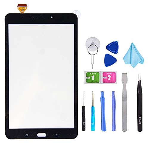T Phael Black Compatible Samsung Galaxy SM-T380 Touch Screen Glass Digitizer Replacement, for Tab A 8.0 2017 WiFi Version, NOT for LTE SM-T385(NO LCD) with Adhesive and Tools