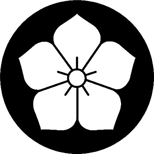 家紋シール 明智光秀 水色桔梗/桔梗紋 直径4cm 丸型 白紋 4枚セット KS44M-3657-01W
