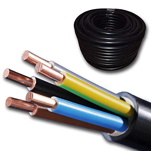 Preisvergleich Produktbild Starkstromkabel - NYY-J 5x6 mm² - Kunststoff Erdkabel - 10m / 10 m / 10 meter - schwarz