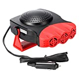Car Heater, Anti-Fog 12V 150W Plug in Cigarette Lighter Portable Auto Heater Fan 2 in 1 Heating/Cooling Mini Car Heater Defroster with Ergonomic Handle Windshield Defogger Defroster(Red)