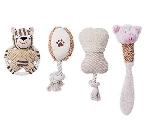 FURRY HEROES Juego de juguetes de peluche para perros pequeños y medianos, juego de 4 piezas, actividades de juego para adultos, aburrimiento, entrenamiento de cachorros