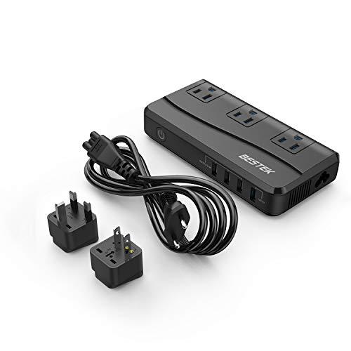 海外旅行用変圧器 変換プラグ付き 100V-240V to 100V 変換 QC3.0ポート付き 急速充電対応 ホコリ防止 感電防止 並行輸入品 MRJ201IU-BK