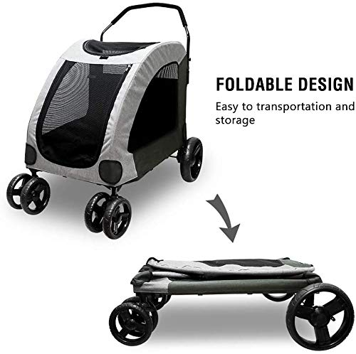 Dog Stroller For Large Pet Jogger Stroller For 2 Dogs Breathable Animal Stroller With 4 Wheel And Storage Space Pet Can Easily Walk In/Out Travel Up To 120 Lbs(55kg) 7