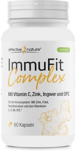 ImmuFit Complex – die 9-fach-Immunformel mit Vitaminen, Mineralstoffen, Ingwer und OPC in einer Kapsel. Komplex für Ihr Immunsystem mit natürlichem Vitamin C aus Cranberry (vegan)