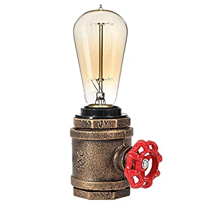Industrial Steampunk Table Pipe Lamp Vintage Desk lamp Edison Table Light Bedside Nightstand Lamp Edison Lamp Base Antique Night Light for Living Room Bedroom
