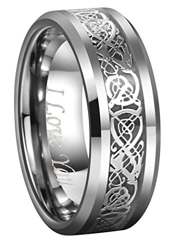 CROWNAL Dragon Men Tungsten Carbide Ring Wedding Band 8mm Silver Celtic Dragon Inlay Polish Finish Engraved I Love You Size 7 to 17 (8mm,17)