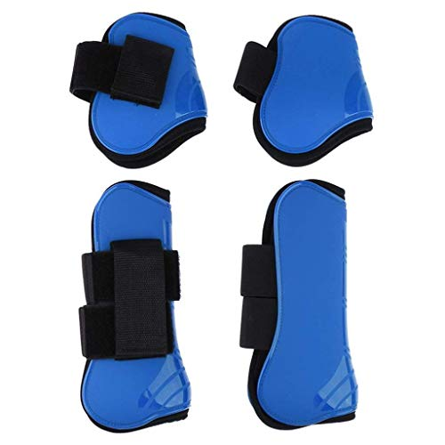 2 Pairs PU Horse Leg Boots Horse Care Boots Equestrian Supplies Front and Rear Leg Support Leggings Horse Protector (Blue)