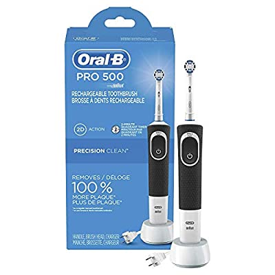 Oral-B Pro 500 Electric Power Rechargeable Toothbrush with Automatic Timer and Precision Clean Brush Head, Powered by Braun original (Product Design & Packaging May Vary)