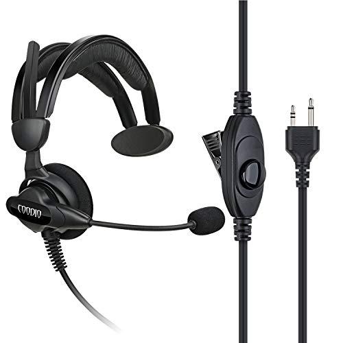 COODIO Funkgeräte Ohrhörer 2 Pin Über-Ohr Security Headset [Swivel Boom Mikrofon] [Noise Cancelling] Kopfhörer Mikrofon Kompatibel mit Midland Walkie-Talkie PMR
