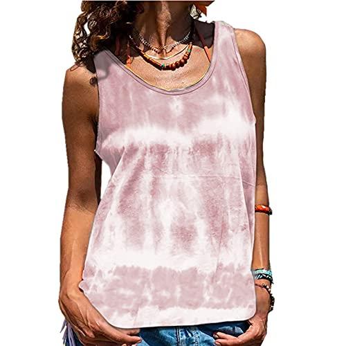 Elesoon Camiseta sin mangas para mujer, de verano, sin mangas, con tie-dye, A-rosa, 44