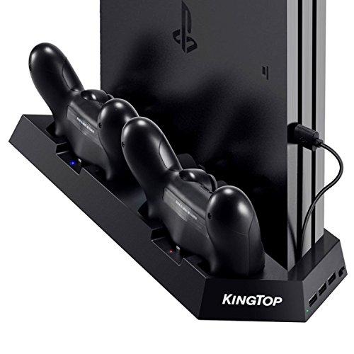 KingTop PS4 Supporto Verticale con 2 Ventola di Raffreddamento, PS4 Stazione di Ricarica Charger All-in-One per Doppia Controller con Indicatore LED per PS4 / PS4 Slim / PS4 Pro/ PS4 Accessori