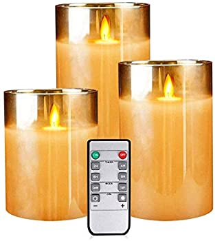 3-Pack Flickering Flameless Candles with Timer Pillar
