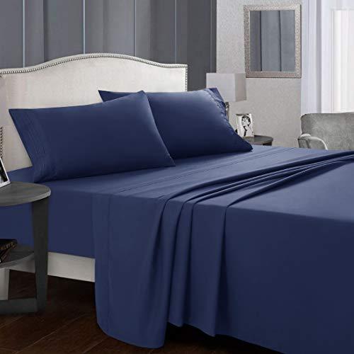 Starcast Bed Sheet Set Full Size Soft Microfiber 1800 Thread Count Bedding Sheet Set Deep Pocket WrinkleFade Resistant Breathable Hotel Luxury Cooling Sheets Set4 Piece Navy