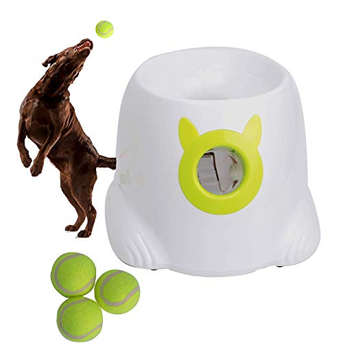 xHxttL Lanzador automático de Pelotas, Juguete Interactivo para Perros, máquina para lanzar Pelotas de Tenis para Perros, 3 Pelotas de Tenis Incluidas