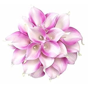 Celine lin Calla Lily Bridal Wedding Party Decor Bouquet PU Real Touch Flower Artificial Flowers(10 PCS,Light Purple)